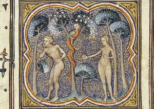 Enluminure de la Genèse, Série Petrus Comestor, Meermanno Koninklijke, 1372, Bibliothèque de La Haye