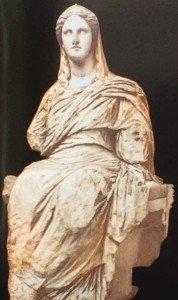 Déméter provenant du sanctuaire de Déméter et Persephone à Cnide, 34à av. JC, marbre, British Muséum Londres.