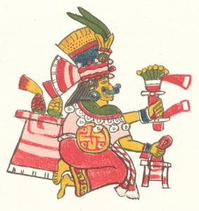 Xilonen, divinité du maïs, Codex Magliabechiano, Manuscrit Mexicain Bibliothèque Nationale de Florence.